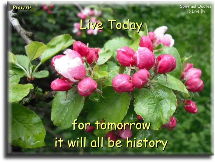Proverb: Live today, for tomorrow it will all be history. - Spiritual Quotes to Live By