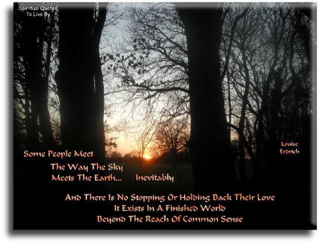 Louise Erdrich quote: Some people meet the way the sky meets the earth.. Inevitably, and there is no stopping or holding back their love. It exists in a finished world, beyond the reach of common sense. - Spiritual Quotes To Live By
