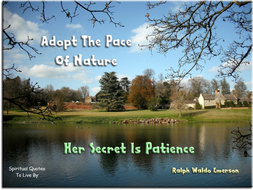 Ralph Waldo Emerson quote: Adopt the pace of nature, her secret is patience. - Spiritual Quotes To Live By