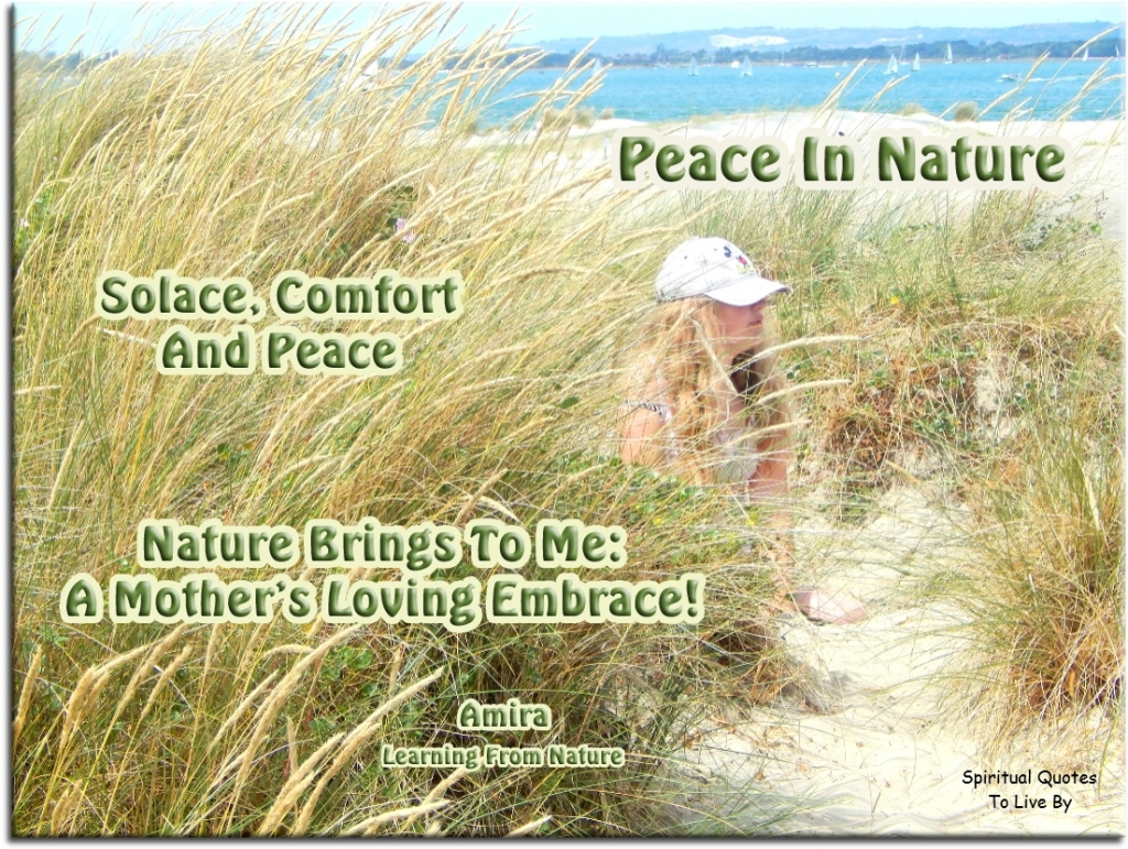 Haiku poem by Amira: Peace In Nature - Solace, comfort and peace, nature brings to me: A mother's loving embrace! - Spiritual Quotes To Live By