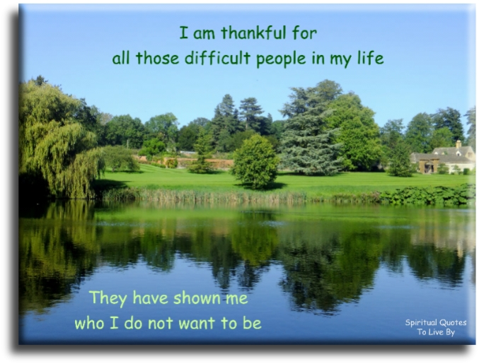 I am thankful for all those difficult people in my life, they have shown me who I do not want to be. (unknown) - Spiritual Quotes To Live By