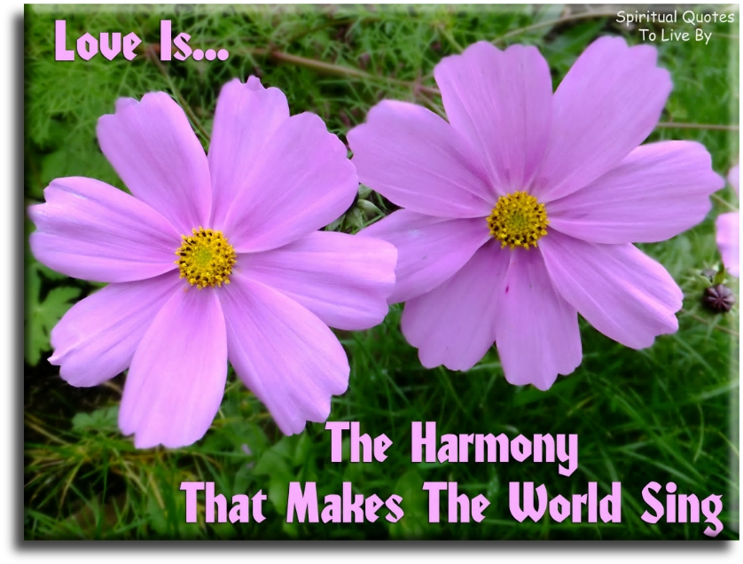 Love is the harmony that makes the world sing (unknown) - Spiritual Quotes To Live By
