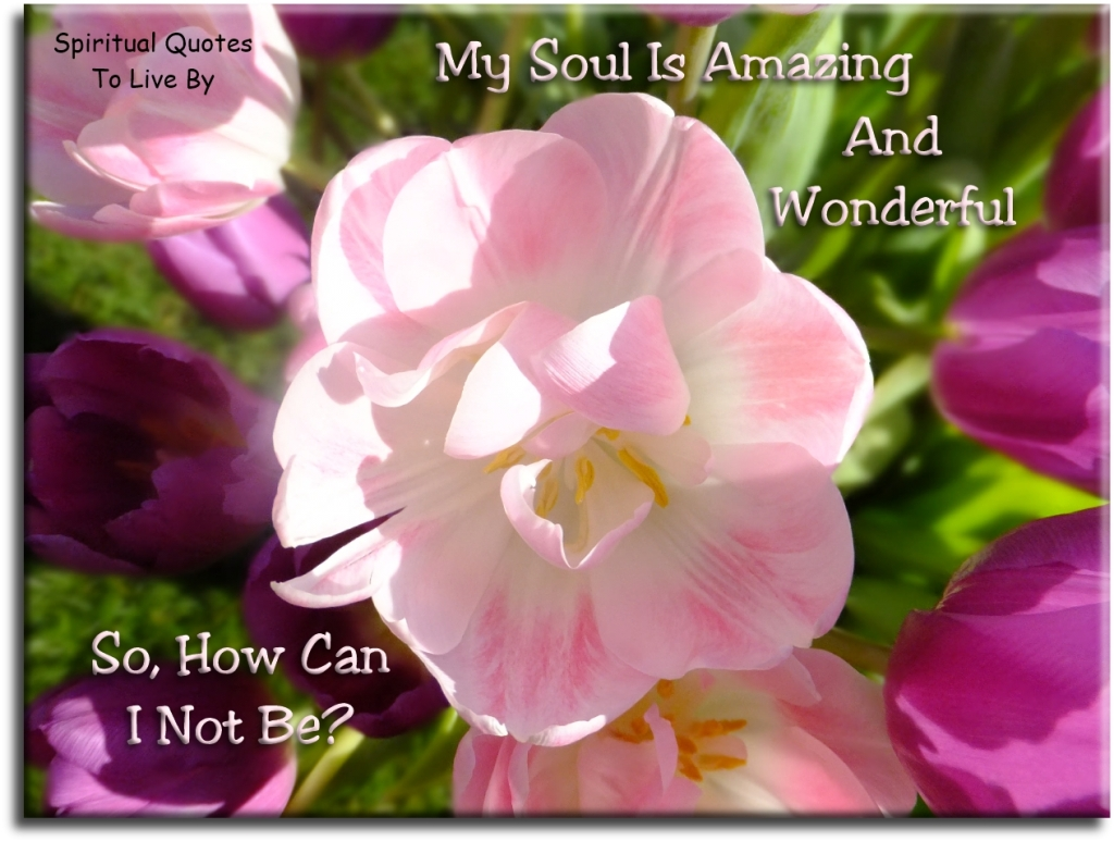 My Soul is amazing and wonderful, so how can I not be? (unknown) - Spiritual Quotes To Live By