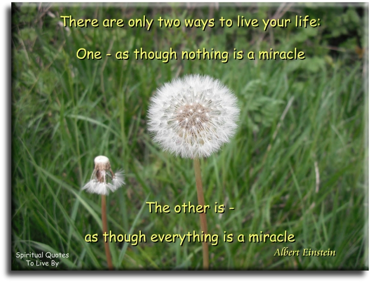 Albert Einstein quote: There are only two ways to live your life: one, as though nothing is a miracle. The other is as though everything is a miracle. - Spiritual Quotes To Live By