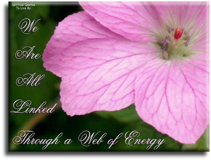 We are all linked through a web of energy (unknown) - Spiritual Quotes To Live By