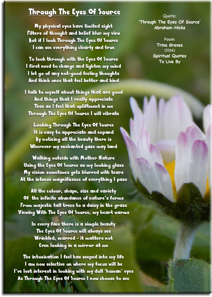 Through The Eyes Of Source - by Trina Graves based on quote from Abraham=Hicks - Spiritual Quotes To Live By