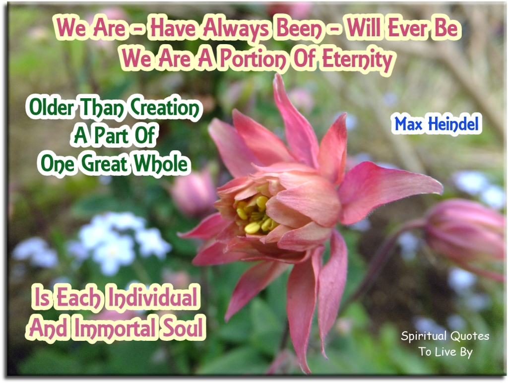 part of poem by Max Heindel - We are, have always been, will ever be. We are a portion of eternity. Older than creation, a part of one great whole, is each individual and immortal Soul - Spiritual Quotes To Live By
