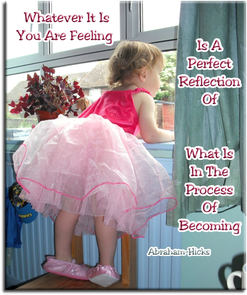 Whatever it is you are feeling is a perfect reflection of what is in the process of becoming - Abraham-Hicks - Spiritual Quotes To Live By